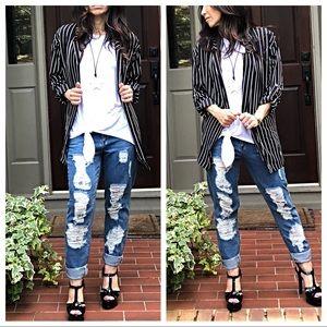 Jackets & Blazers - Striped open rolled sleeves jacket